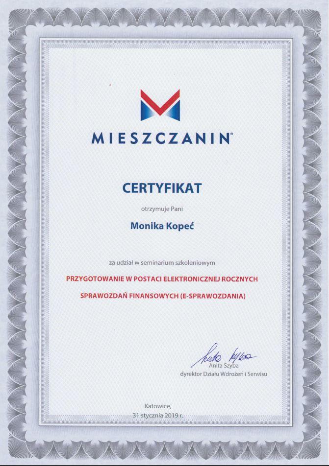 Certyfikat za udział w seminarium dotyczącym przygotowania w postaci elektronicznej rocznych sprawozdań finansowych (e-sprawozdania)