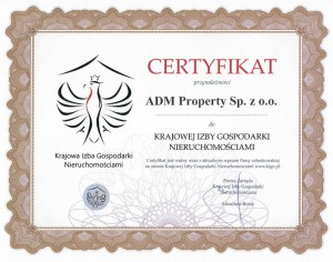 Certyfikat przynależności do Krajowej Izby Gospodarki Nieruchomościami