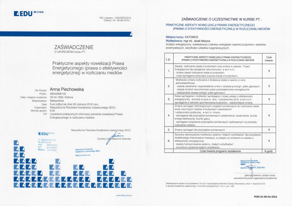 szkolenie Zarządcy ADM Property sp. z o.o. z nowelizacji Prawa Energetycznego