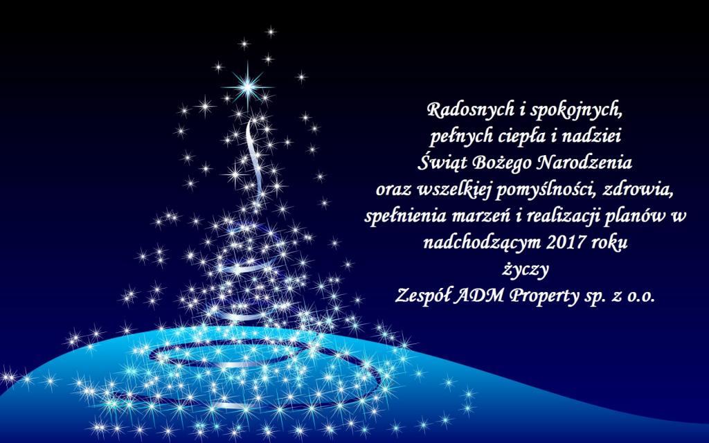 kartka z życzeniami świątecznymi z okazji Bożego Narodzenia i Nowego Roku od krakowskiego i katowickiego zarządcy nieruchomości ADM Property sp. z o.o.