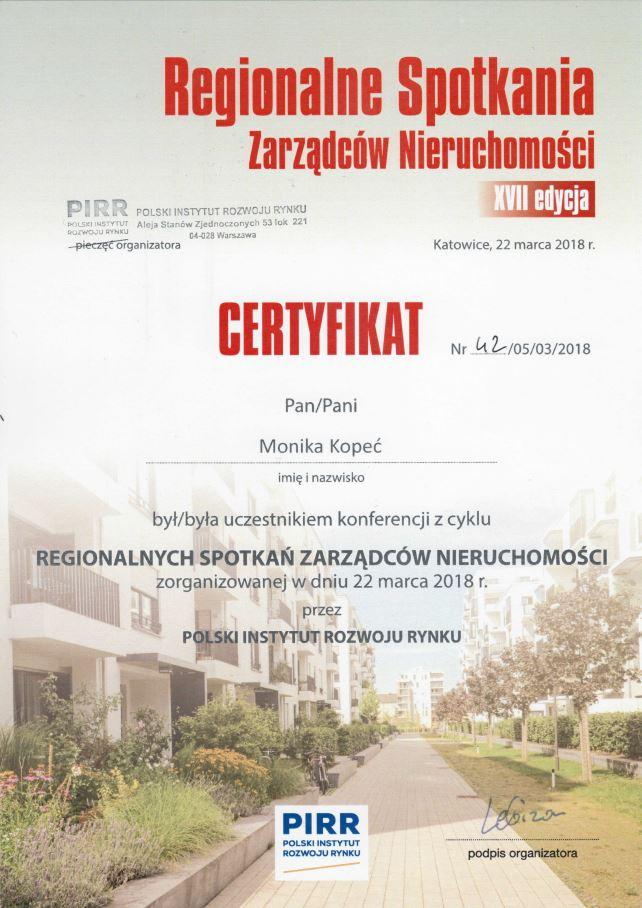 certyfikat przedstawiający udział ADM Property sp. z o.o. w szkoleniu z zasad dotyczących ochrony danych osobowych i przygotowanie do RODO