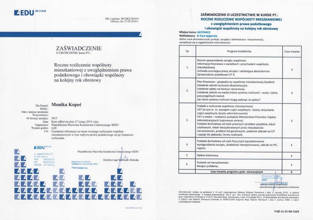 zaświadczenie o ukończeniu kursu dot. księgowości wspólnot mieszkaniowych zarządzanych przez ADM Property sp. z o.o.