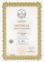 licencja zarządcy nieruchomości p. Anny Rogalskiej wydana przez KIGN