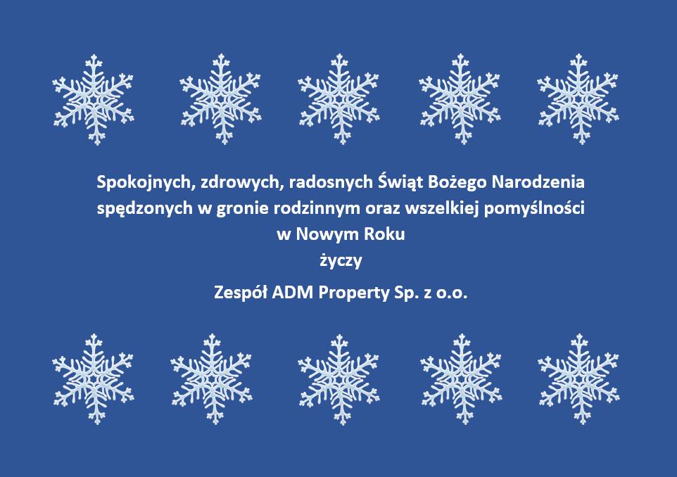 kartka świąteczna życzeniami świątecznymi i noworocznymi na 2020r od Zespołu ADM Property sp. z o.o.