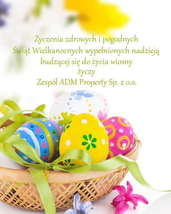 kartka z życzeniami na święta Wielkanocne 2020r od ADM Property sp. z o.o.