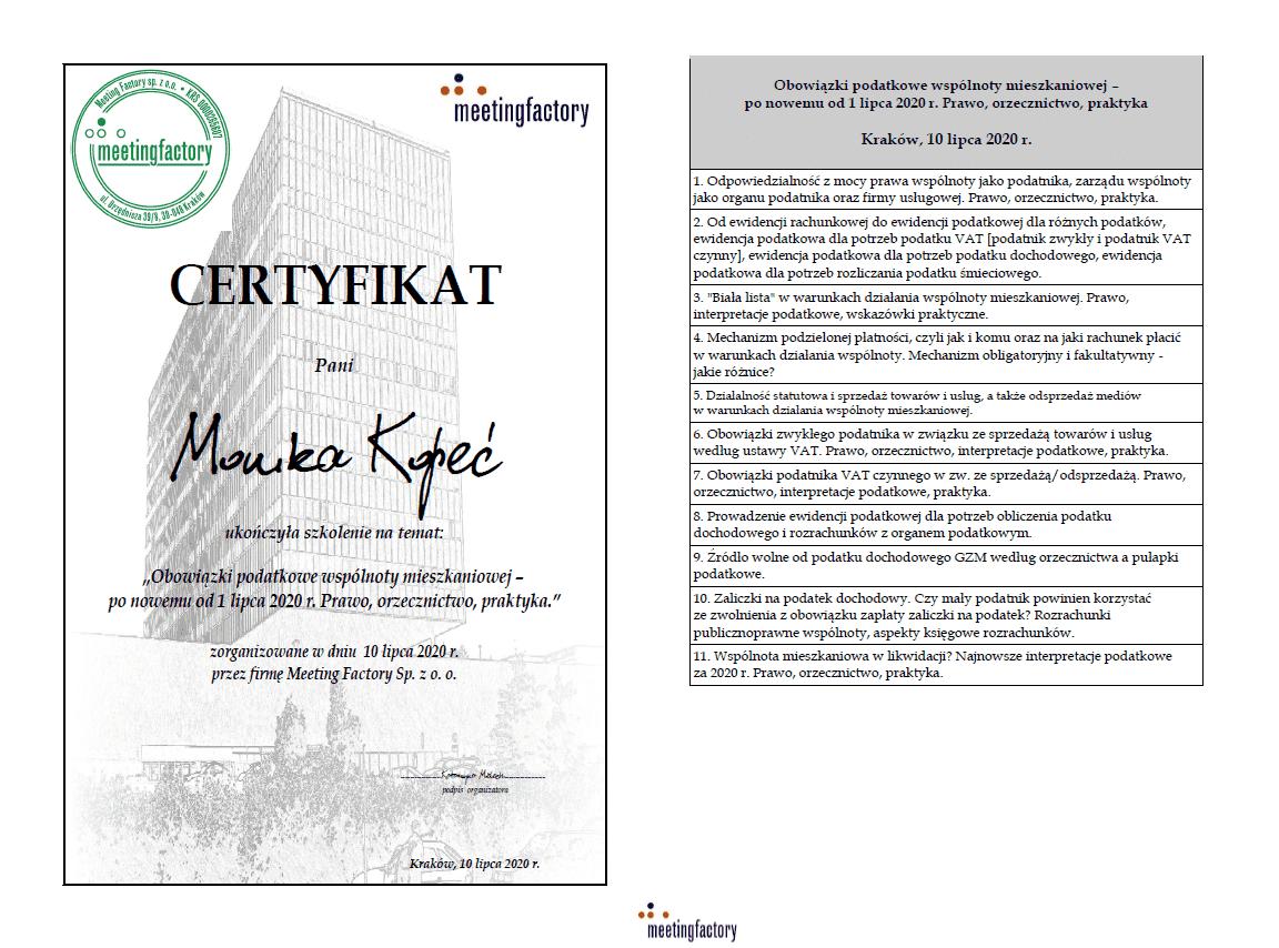 certyfikat potwierdzający udział w szkoleniu dla zarządcy nieruchomości z obsługi podatkowej wspólnot mieszkaniowych.