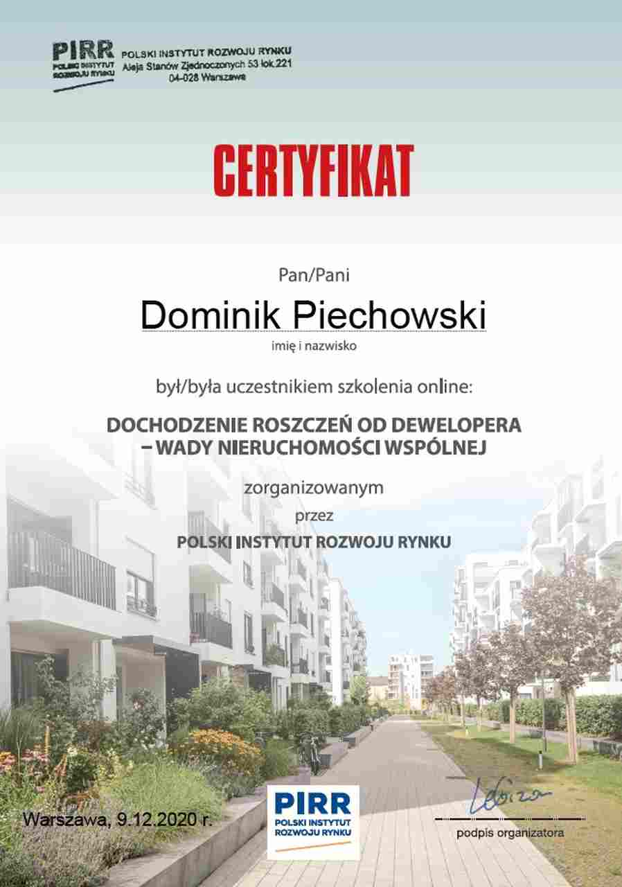 certyfikat szkolenia ADM Property sp. z o.o. z zakresu dochodzenia roszczeń od Deweloperów.