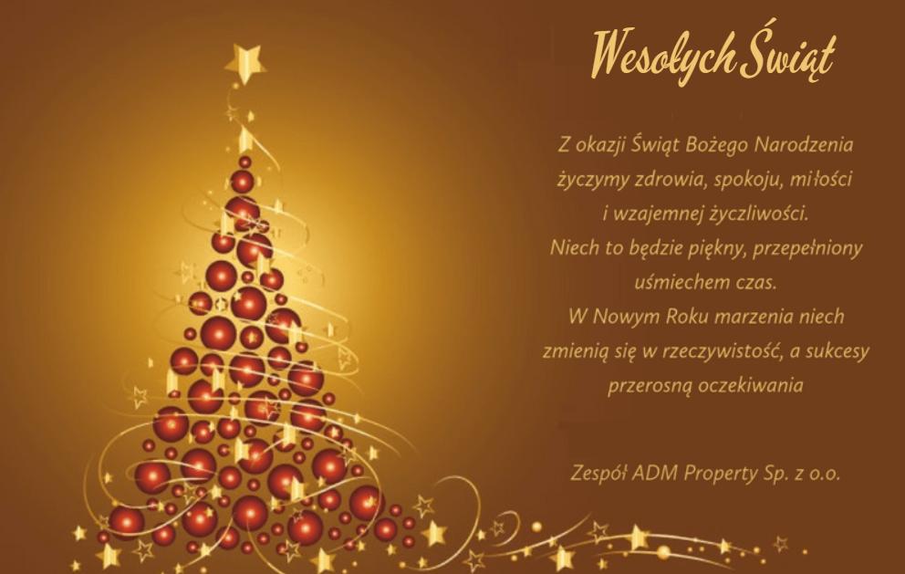 życzenia od ADM Property sp. z o.o. z okazji Bożego Narodzenia
