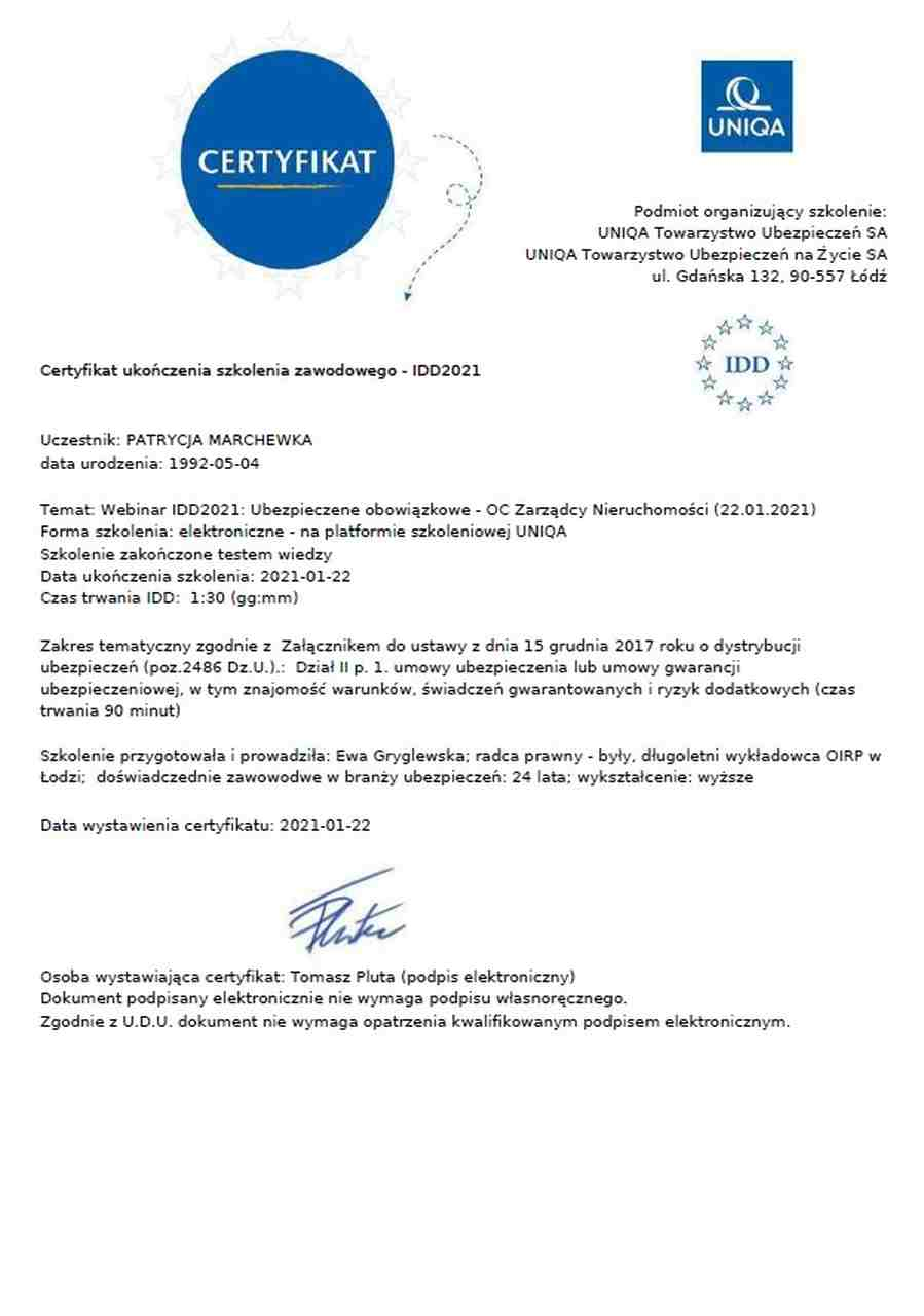 certyfikat ukończenia szkolenia z ubezpieczenia OC zarządcy nieruchomości